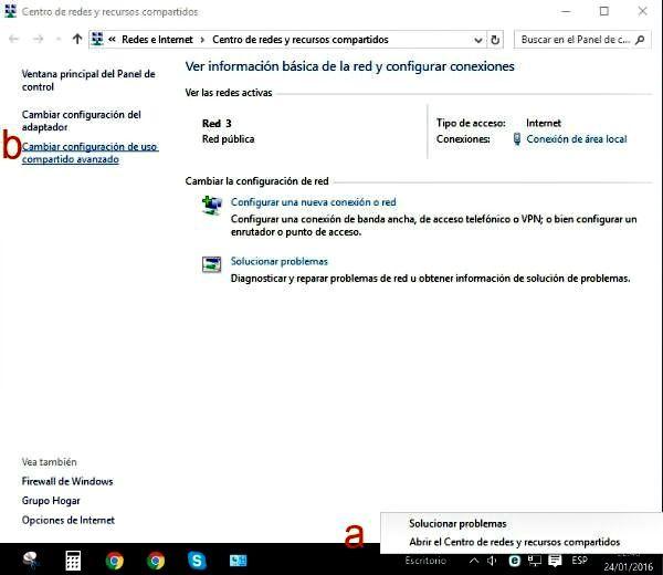 centro de redes y recursos compartidos en windows 10