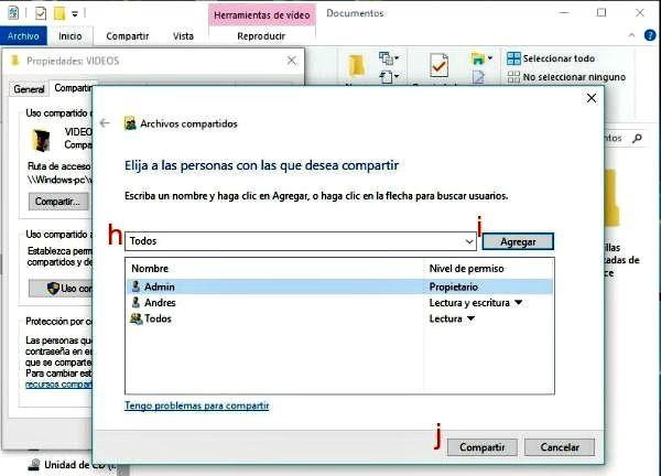permisos de usuarios en red
